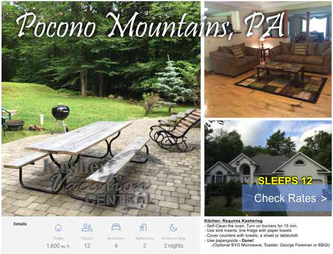 Poconos  Got it  Here's what we got for Kosher Lodging Options in
